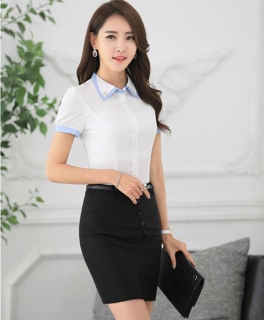 825f67d0a Novedad Blanco Estilos Uniformes 2016 Verano Profesional Trajes de Negocios  Formal Tops Y Falda Mujer Camisas