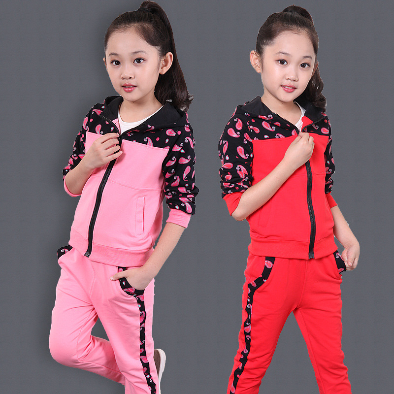 2016 Brand Girls Cotton Print Sport Clothing Set For Spring Autumn Long Sleeve Top + Pants Clothing Set Kids School Clothes 2016 brand kid print striped clothing set for autumn spring boy girl sport school clothing set kid fashion clothes hot sale
