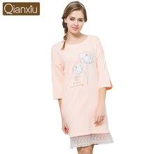 Qianxiu Moda Hanım Pamuk Gecelik Yuvarlak Boyun Çiçek Baskılı Pijama Dantel Hem Güz Gece Elbise Rahat Uyku Salonu