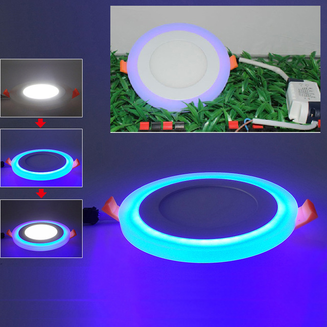 Round/Square Led Panel Downlight,6W 12W 18W 24W Double Color Led Ceiling Recessed Lights,3 Model Led Lamp Panel Light
