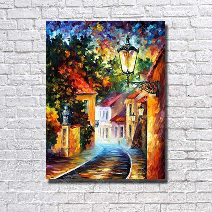 Best Sale Hand Painted Night Village Scenery Oil Painting on