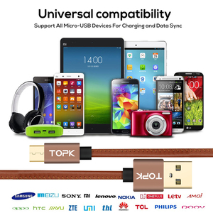 Image 5 - TOPK [5 Pack] Micro USB Cable PU Leather Metal Plug Data Cable For Samsung S7 edge Xiaomi Redmi 4X