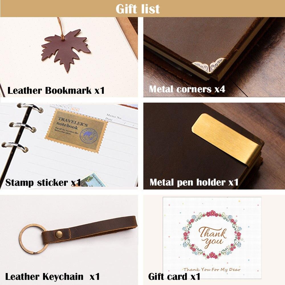 Image 5 - handmade Traveler's Note Book notebook brown Genuine Leather Cowhide leather diary vintage loose leaf planner Sketchbook-in Notebooks from Office & School Supplies