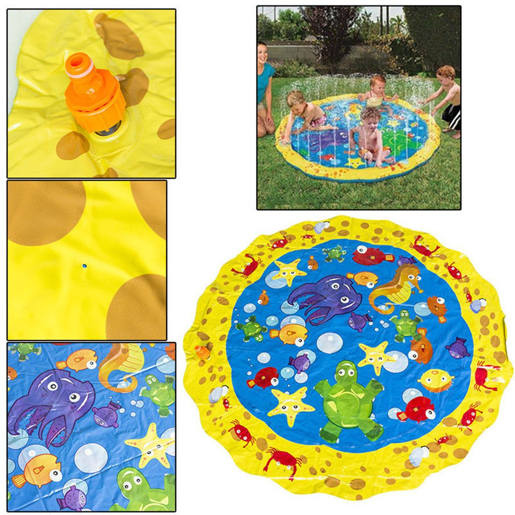 100cm Summer Children's Outdoor Play Water Games Beach Mat Lawn Inflatable Sprinkler Cushion Toys Cushion Gift Fun For Kids Baby