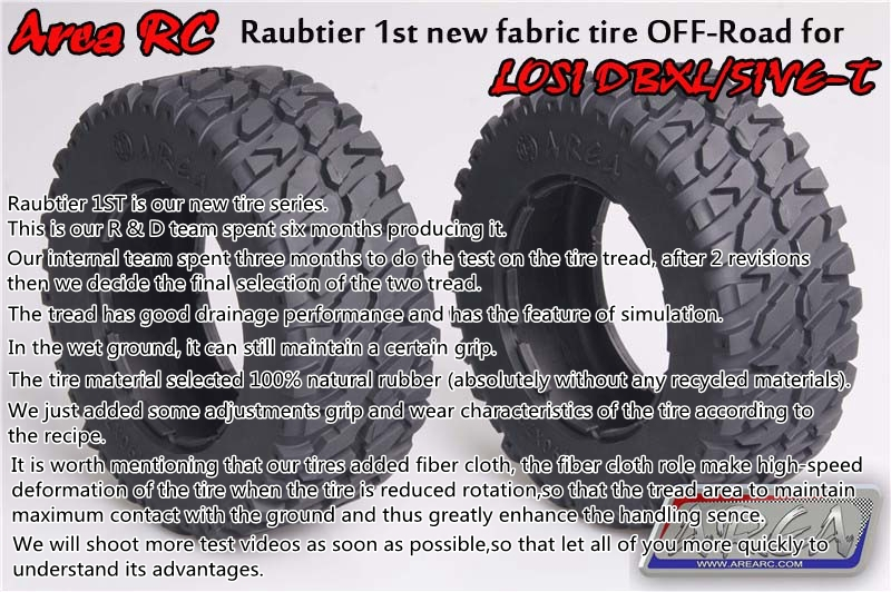 Area RC Raubtier 1st new fabric tire Off-Road for LOSI DBXL/LOSI 5IVE-T area rc rear hub carrier for losi 5t 5ive t