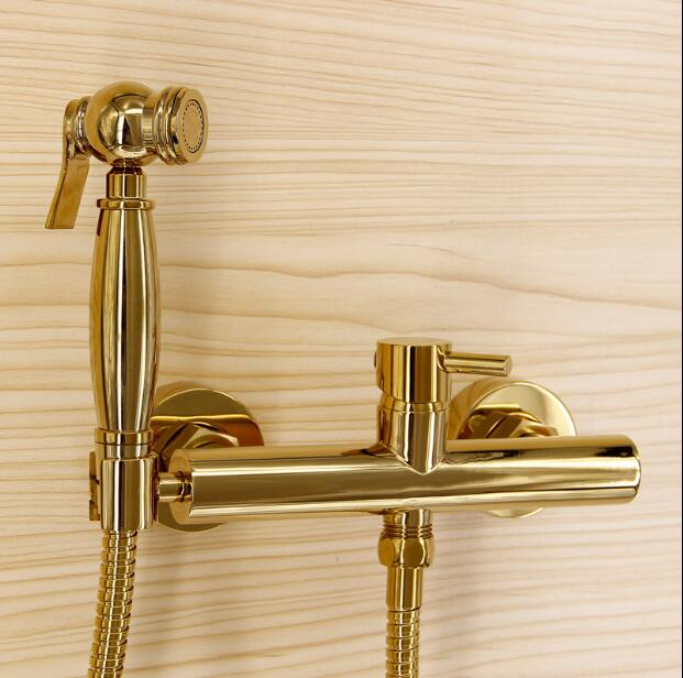 New arrival hot sale gold bidet faucet high quality brass wall mounted bathroom bidet faucet set with 1.5M plumbing hose 2017 wholesale new premium high quality gold bidet mixer faucet taps