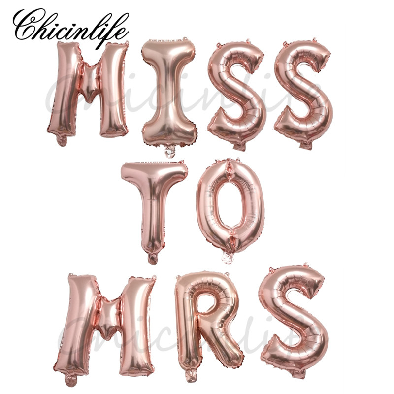 Chicinlife rose gold Miss to Mrs Letter Balloons Bridal Shower Banner Bachelorette Party Bride wedding Hen party decoration