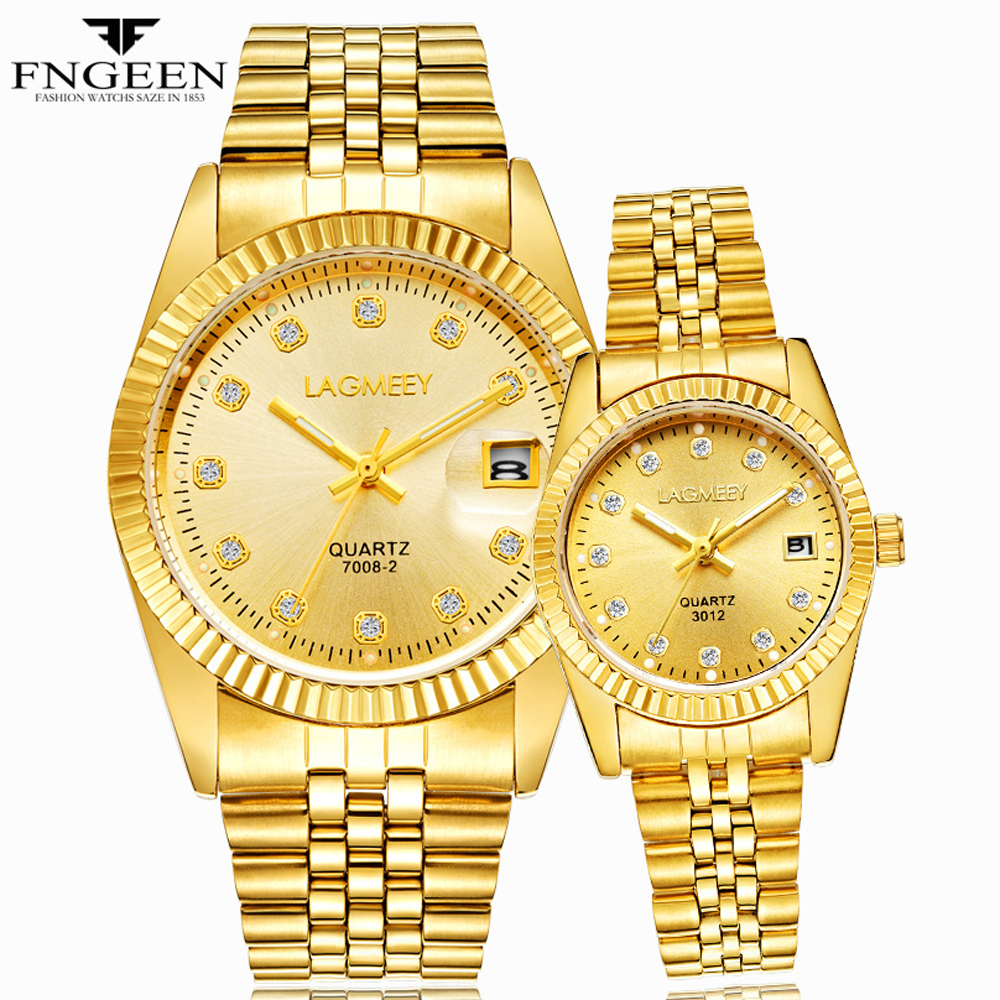 Gold Watches for Men 2018 Top Brand Luxury Diamond Quartz Couple Watch Women Steel Strap Date Luminous Reloj Hombre Love Watches