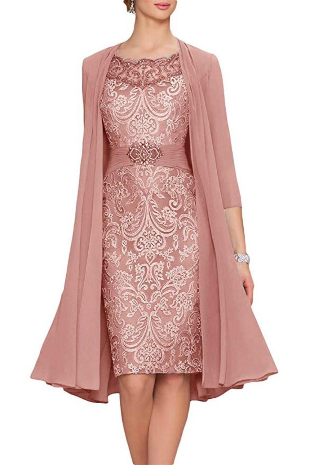 Charming Two Pieces Sheath Lace Vestido Novia Formal Wear Groom Wedding Guest Gown Evening Mother Of Bride Dresses With Jacket