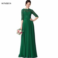 Elegant Green Bride's Mother Dresses Long Chiffon Wedding Party Dress A line Half Sleeve Lace Mother Of Groom Gown CM041