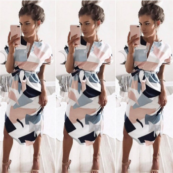 2018 Summer Dress female V-neck Women Fashion Geometric Print Elegant Cute Sashes Sexy Slim Dress Women Dresses Vestidos  1