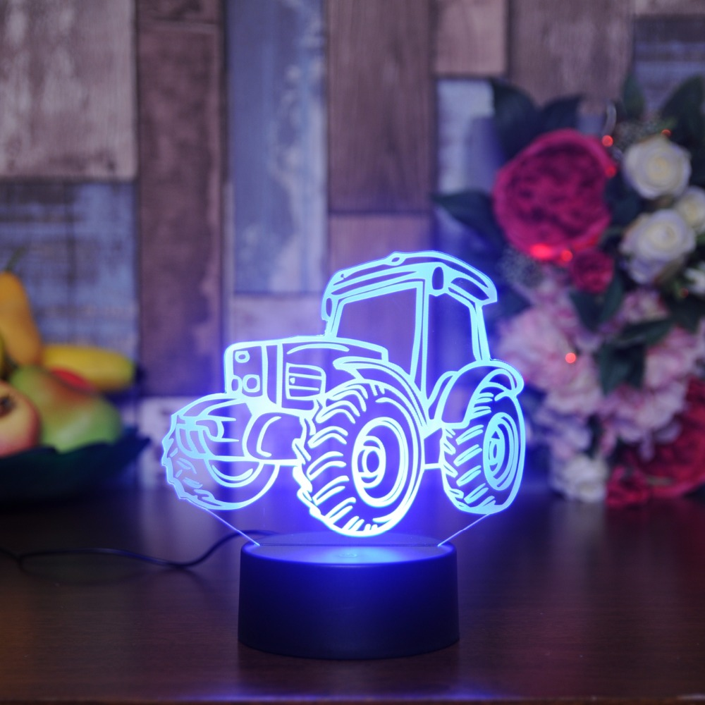 Creative Tractor 3D Visual Lamp 7 Colors Changing Acrylic Night Light For Children Bedroom Home Gadgets Christmas Gifts Lighting