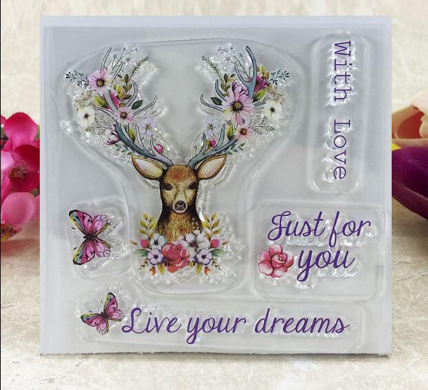 Scrapbook DIY Photo Album Card Rubber Chapter Transparent Seal deer Dream love Clear Stamp113 astro 5th mini album dream part 02 random cover release date 2017 11 02