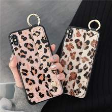 Epoxy Wrist Strap Glitter Phone Case For iphone 7 8 6 6s plus X Xs max XR Leopard gold foil Holder