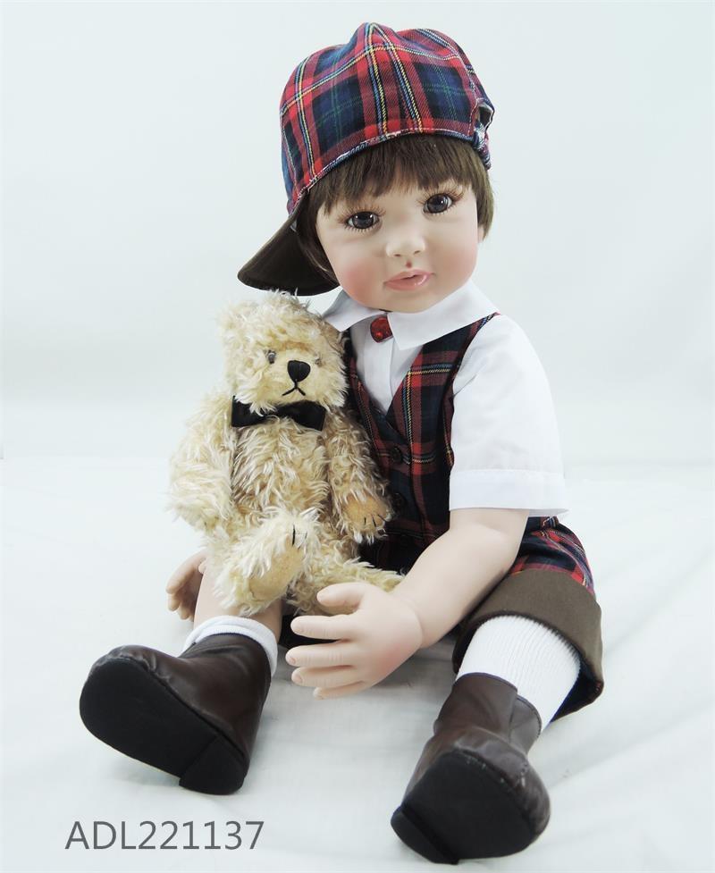 New 24'' Reborn Baby Dolls Toy Lifelike Soft Cloth Body Babies Boy Wear Fashion Clothes Lovely Real Bebe Boneca Reborn Npk Gift