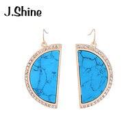 JShine Simple Blue Brown Semicircle Rhinestone Natural Stone Earrings Big Dangle Earrings Fashion Women Jewelry