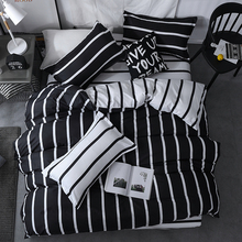 Black and white strip bedding set brief bedclothes mens boys cool bedcover pillow covers hot sale new arrival