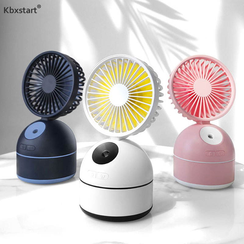 Kbxstart Humidifier Fan Mini Portable Rechargeable USB Fan For Office Home Computer PC Electric Laptop Ventilador With 3 Gear