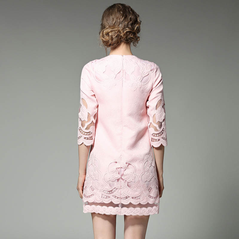 cou Color Rose De Broderie Femme Robes Court Solide Dress Haute Qualité Élégant Printemps Femmes Casual Picture Color Jacquard D'été picture Évider O fgybYv76