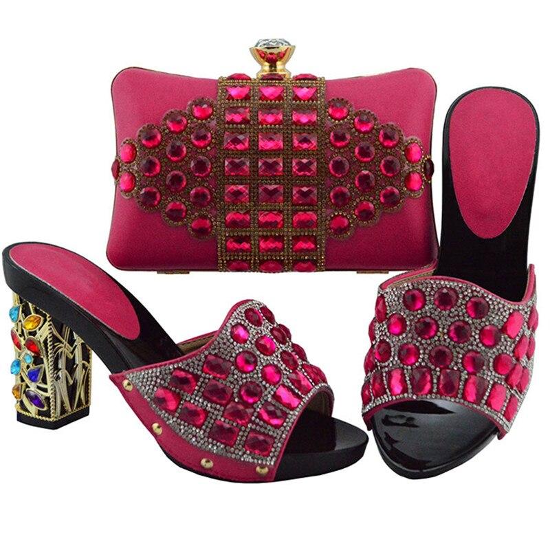 royal De Decorado Último Bolso negro Mujeres Blue Bombas Y Fuchsia Cyan Rhinestone Africanas Zapatos Diseño Set Boda Con Bolsa El Partido plata Italianos peach dark oro xqIwgfI