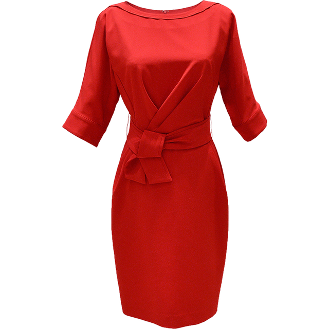 9044f343a2af0 Dabuwawa Spring Bow Bodycon Dress for Office Lady Girls Women New Half  Bating sleeve O-neck Knee-length dresses D17BDR022