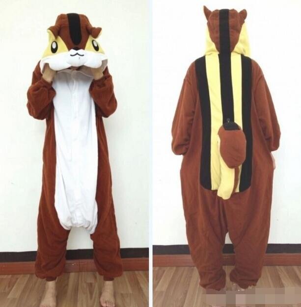 Kawaii Animal Coffee Squirrel Unisex Fleece All in One Pajamas Mujer Costume Cosplay Party Onesies Sleepwear