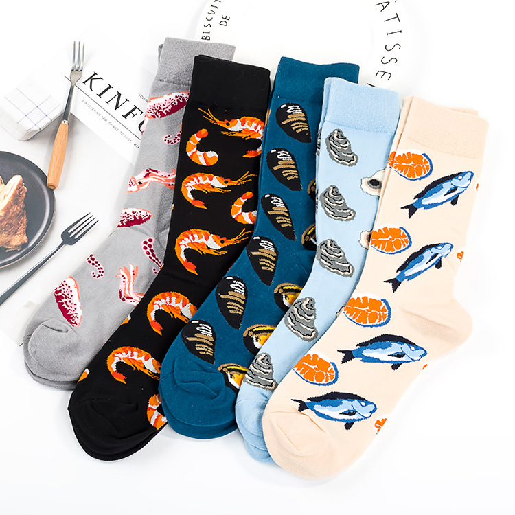 Adult Size Crew Fresh Seafood Socks Dropshipping Mussel Oysters Ocean Shrimps Fishes Shells Cod Codfish Octopus Fisherman Arctic