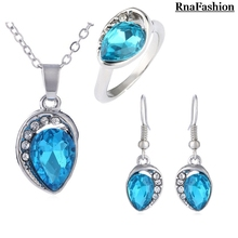 2014 New Crystal Jewelry Set Accessories Water Drop Pendants Necklaces Dangle Earring & Ring Sets High Quality Silver Plated