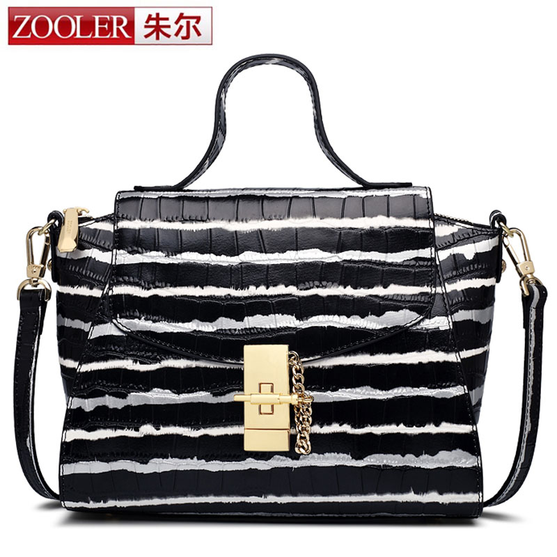 ZOOLER Latest Women Brand New Design Handbag Black and White Stripe Tote Bag Female Shoulder Bags High Quality Real Leather Bag 2016 new women s black and white stripe bag color block print flap handbag brief messenger bag