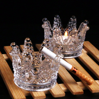 6pcs Creative Crystal Glass Ashtray Personalized Hand European Mini Crown Glass Candlestick Ornaments