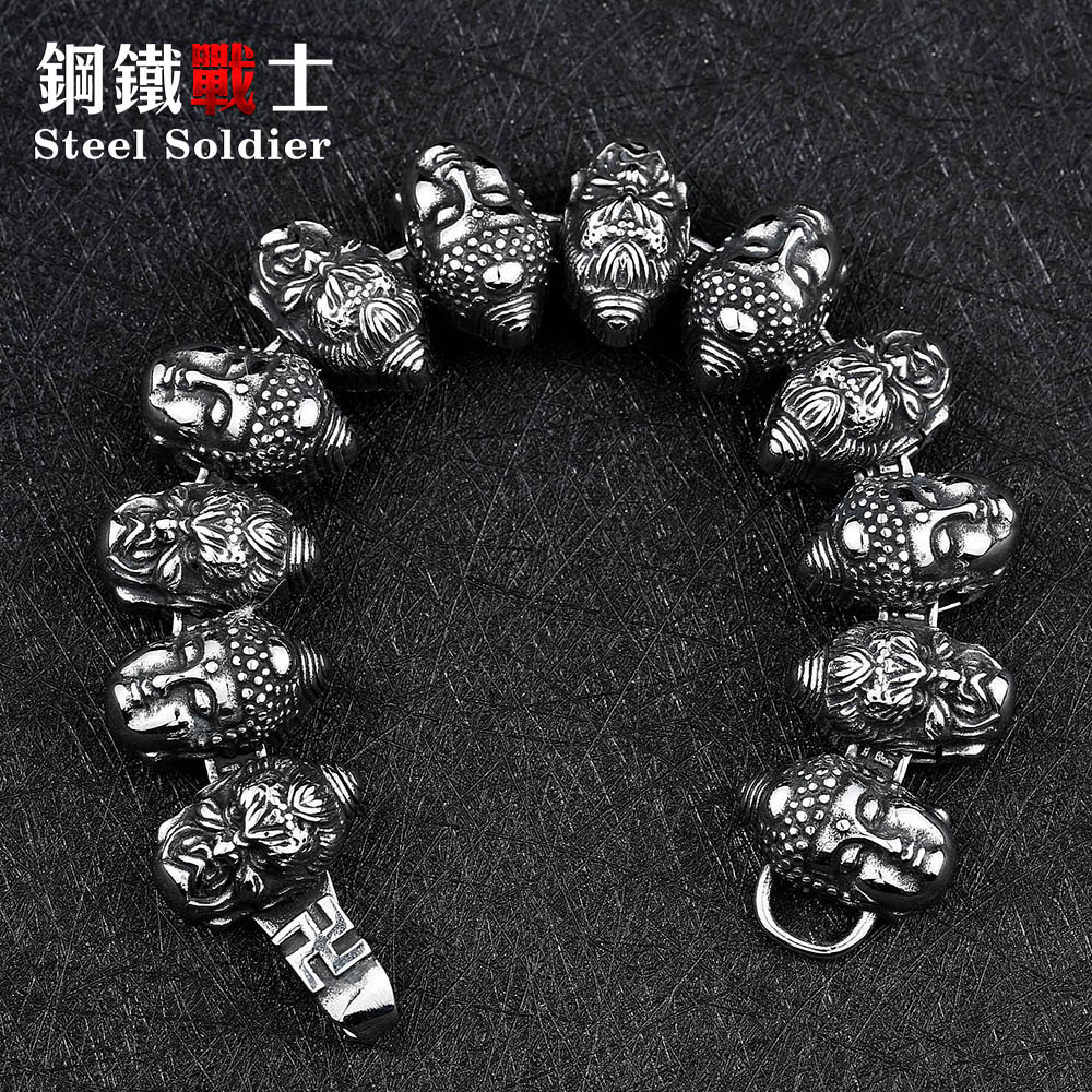 steel soldier fashion charm buddha head Stainless Steel Bracelet take your good luck religious jewelry