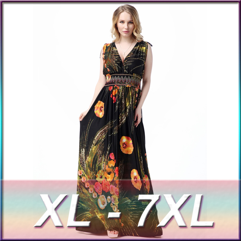 2016 New Bohemia Style Sexy Women Long Dress Floral Print Hollow Out