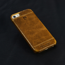 Brown luxury genuine leather phone case for iPhone 5 5S SE high quality brand hard back cover free shipping