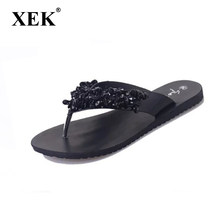 XEK New arrival Fashion Summer Sexy Flip Flops Women Beach Sandals Bohemian  Rivet Crystal Sandals shoes 465bb0a20b76