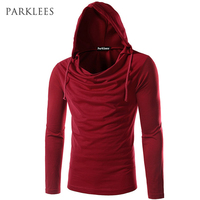 New Trend Wine Red Hooded T Shirt Men Tee Shirt Homme 2016 Autumn Fashion Mens Slim