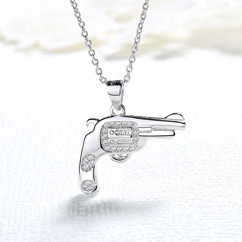 authentic sterling silver 925 unique gun necklace in jewelry pendant necklace with CZ chain silver fashion jewelry for women in Pendant Necklaces from Jewelry Accessories