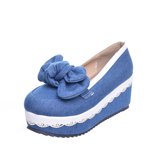 HEE GRAND Cute Denim Women's Casual Pumps Bowtie Knot Cute Round Toe High Platform Wedge Spring Summer Shoes Woman XWD4011