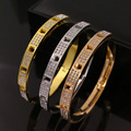 DJM Stainless Steel Full CZ Diamond Buttonhole Rotary Buckle Bracelets Bangles For Women's Fashion Jewelry(DJ0613)