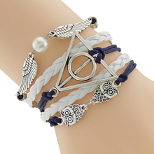 Europe and America WhiteLeather Double Infinite Bangles Braided Vintage Owl Harry Potter Wings Infinity Bangles(China (Mainland))