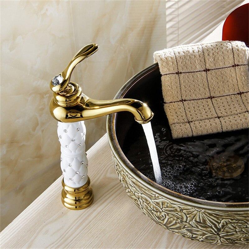 Basin Faucets Euro Gold Washbasin Faucet Luxury Tall Bathroom Basin Taps Single Handle Vanity Single Hole Mixer Water Taps 814K