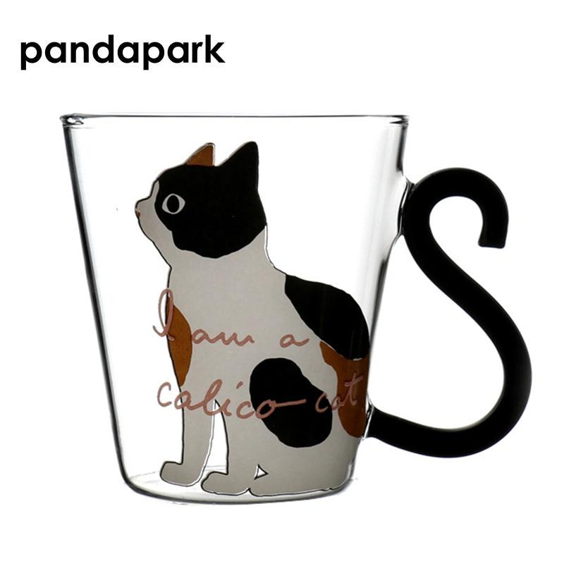 MACK Cute Cat Glass Personality Milk Mug With Infuser Office Coffee Tumbler Creative Breakfast Mugs MCG043