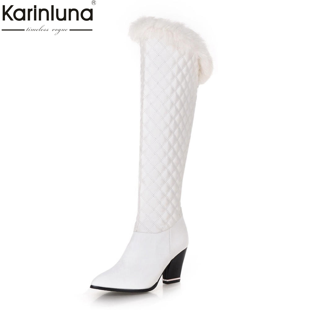Karinluna 2018 Large Size 34 43 Chunky Heels Pointed Toe Knee High Boots Woman Shoes White