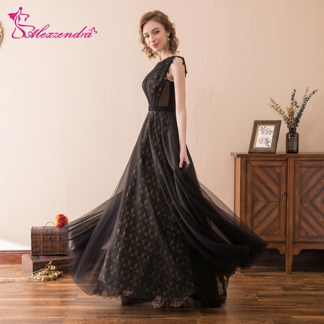 Alexzendra Stock Dress Tulle Black A Line Long Prom Dresses New Formal Evening Gowns Party Dresses-in Prom Dresses from Weddings & Events on ...