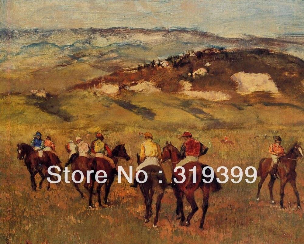 Reproduction peinture à l'huile sur toile de lin, chevaux de course par edgar degas, livraison rapide DHL gratuite, 100% à la main, qualité du musée