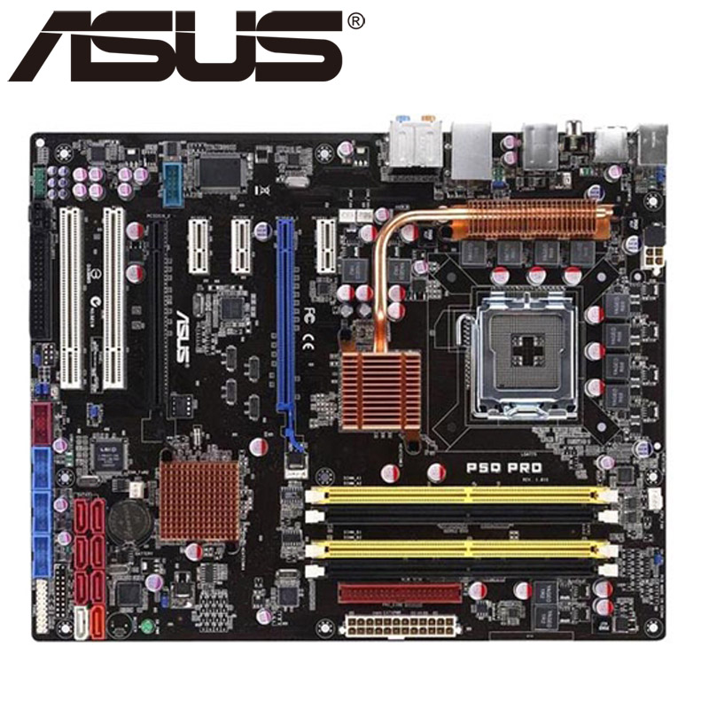 Asus P5Q Pro Desktop Motherboard P45 Socket LGA 775 For Core 2 Duo Quad DDR2 16G ATX UEFI BIOS Original Used Mainboard On Sale asus p8h61 m le desktop motherboard h61 socket lga 1155 i3 i5 i7 ddr3 16g uatx uefi bios original used mainboard on sale
