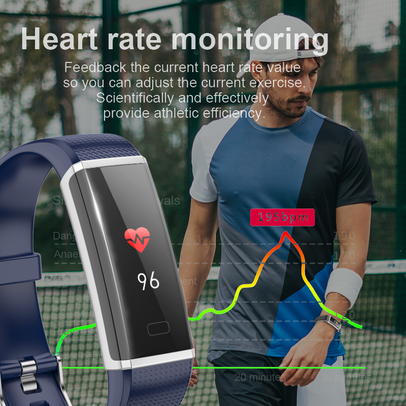 2019 New IP68 Waterproof Sport Smart Wristband Pedometer Tracking Blood Pressure Heart Rate Monitor Smart watch for Android iOS in Smart Wristbands from Consumer Electronics