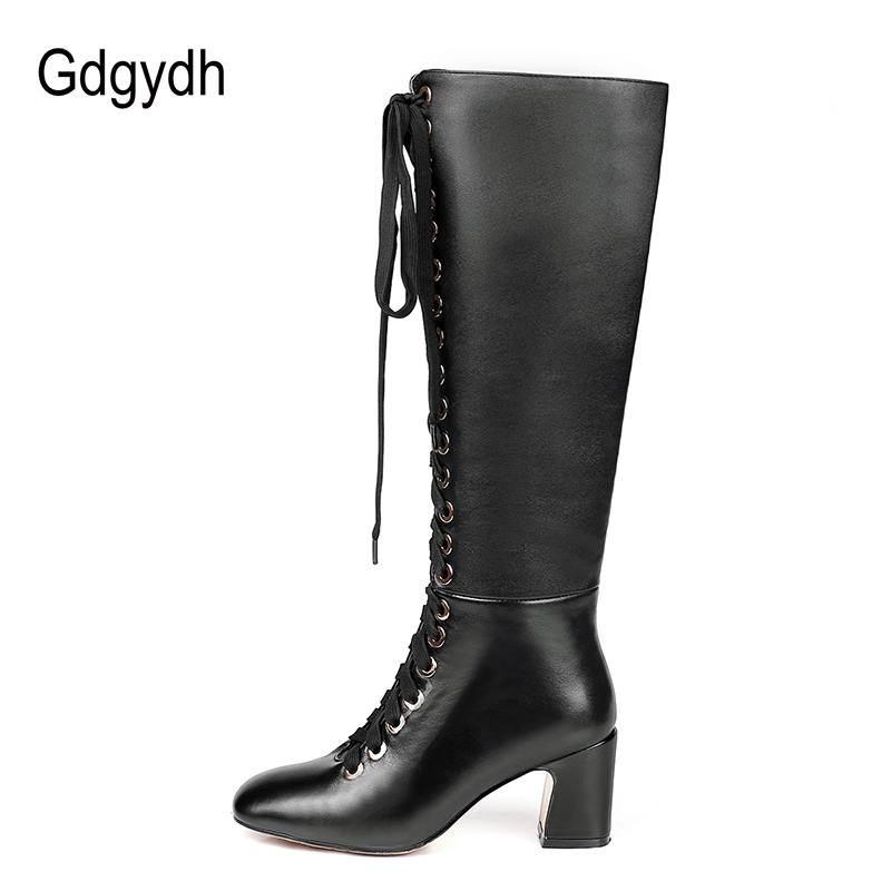 00a63ebdbf7 Gdgydh 2018 New Fashion Lacing Winter Knee High Boots Women High Heel Woman  Rubber Sole Leather Boots Spring Autumn Female Shoes-in Knee-High Boots  from ...