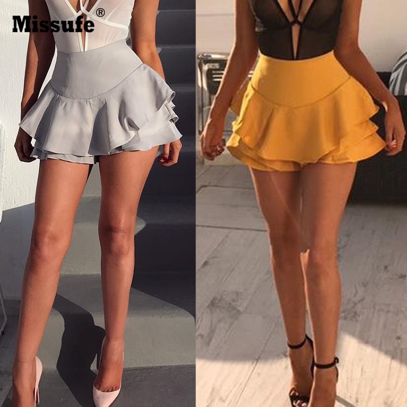 Missufe Summer High Waist Layered Ruffled Frill Shorts Femmes 2017 Brief Solid Slim Mini Skirt Shorts Streatwear For Women