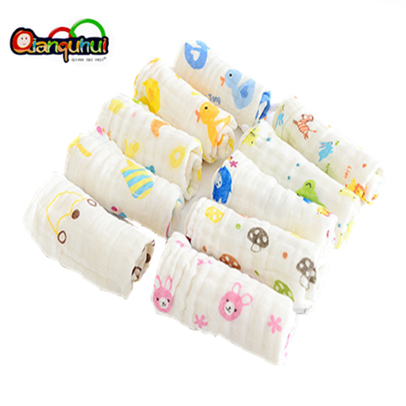 3Pcs Print Cartoon 6Layers Gauze Cotton Baby Towel Newborn Face Hand Towels For Baby Children Kids Muslin Cloth Washcloth 30 50