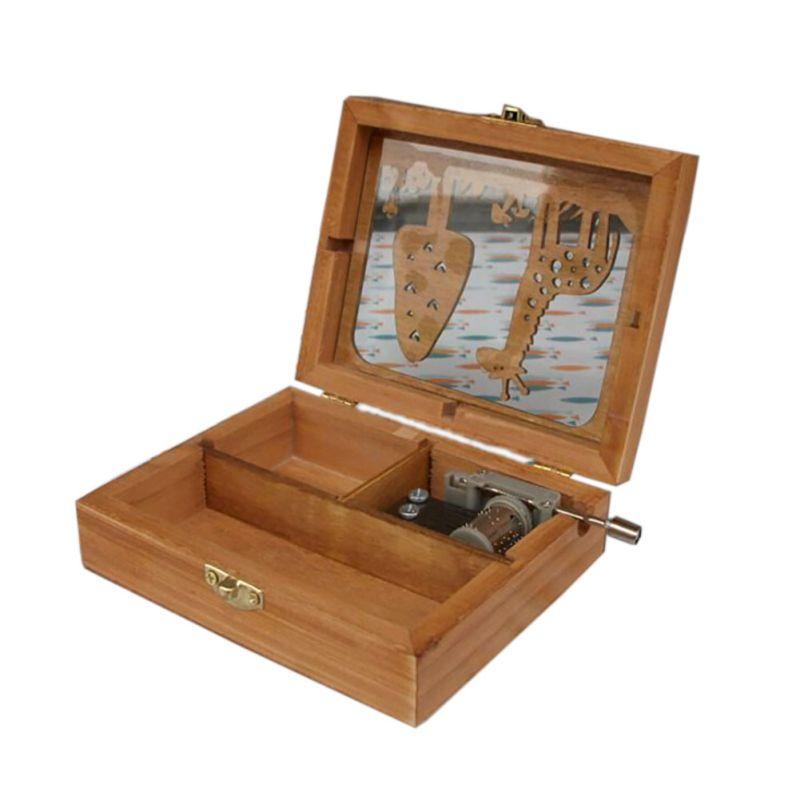 DIY Wooden Mini Music Box Exquisite Animal Mechanical Hand Crank Craft Music Box Movement Gifts
